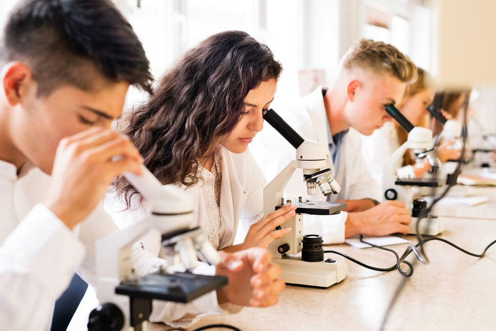 Beautiful high school students with microscopes in laboratory during biology class.