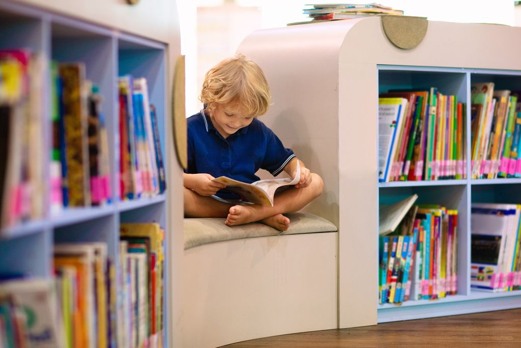 Child in school library. Kids read books. Little boy reading and studying. Children at book store. Smart intelligent preschool kid choosing books to borrow.